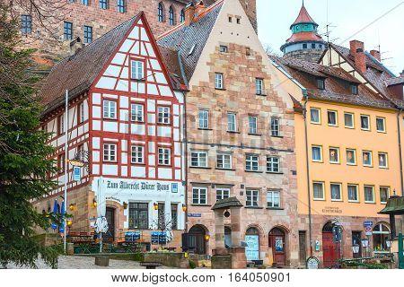 Nuremberg, Germany - December 24, 2016: City street of Nuremberg, Franconia with half-timbered houses in Bavaria