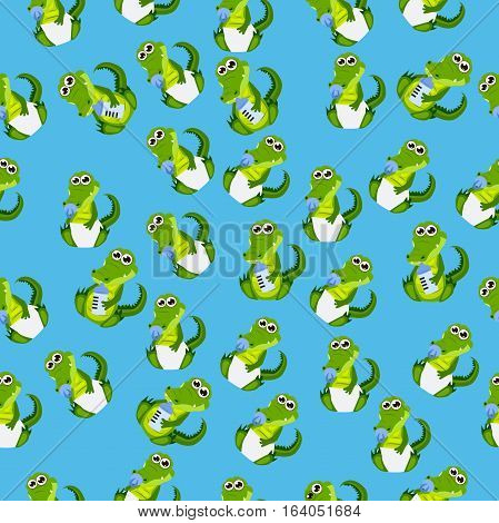 Very high quality original trendy seamless pattern with baby crocodile or alligator with nipple and diaper