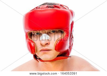 Horizontal Portrait Of A Young Boxer On A White Background
