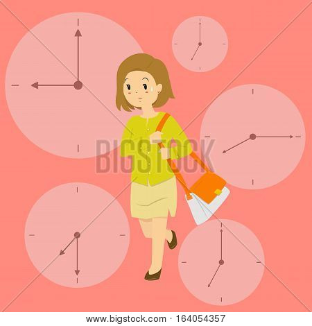 Vector illustration of a business woman late for work in rush hour, with clock background.