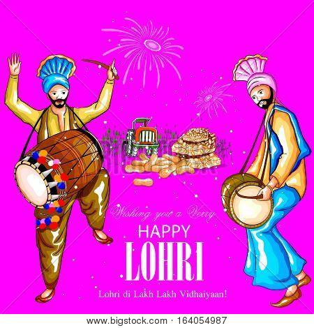 easy to edit vector illustration on festival of Punjab India background with punjabi message Lohri ki lakh lakh vadhaiyan meaning Happy wishes for Lohri
