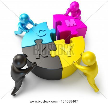 People Connect Part Of The Diagram. Cmyk
