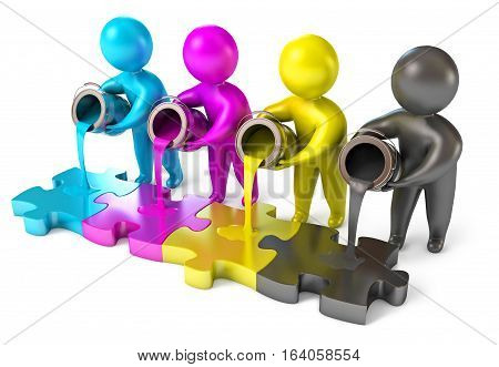 People Poured Out Of The Paint Bucket. Cmyk