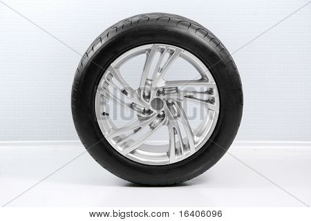 Wheel with steel rim over the white wall