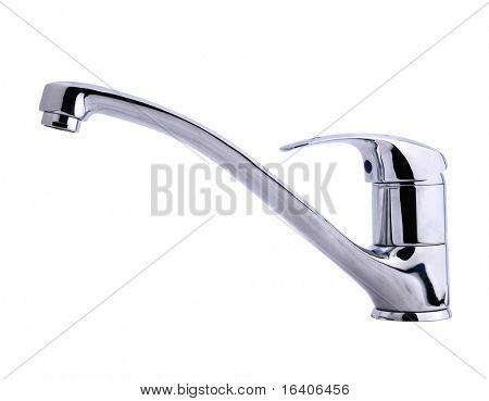 Modern stainless steel tap. Isolated on white background