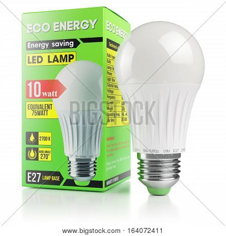 Energy savings modern LED lamp in packing box isolated on white background 3d.