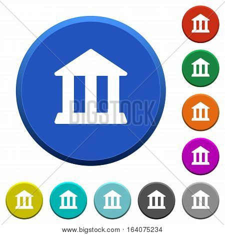Bank office round color beveled buttons with smooth surfaces and flat white icons