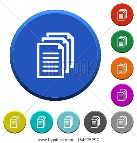 Documents round color beveled buttons with smooth surfaces and flat white icons
