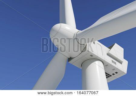 Industrial wind turbine on the sky background. Closeup 3d.
