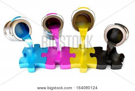 Paint from the bucket fills in the puzzle view of CMYK colors. Isolated on white background. 3D illustration. 3D rendering