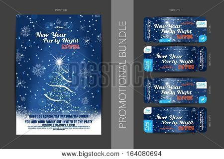Vector New Year night party promotional bundle of blue posters and tickets with Christmas tree snowflakes pattern and snowfall on the dark gray background.