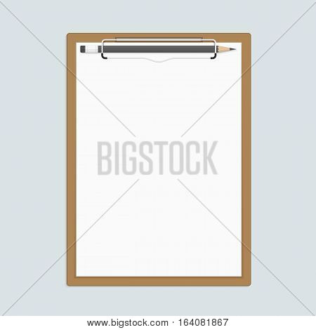 Realistic brown clipboard with a few sheets of paper and pencils. Templates of corporate identity. Vector illustration EPS 10.