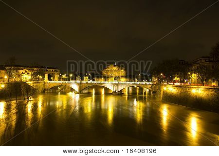 Nocturnal Urban Landscape Of The River Tiber