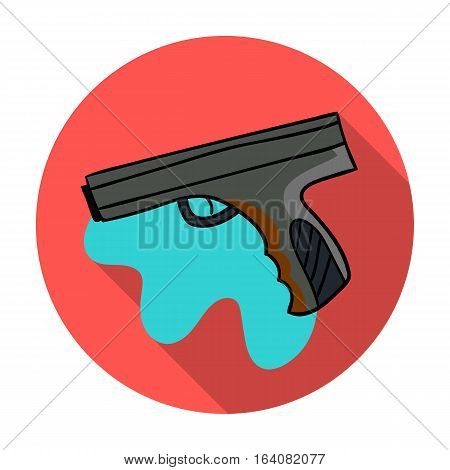 Paintball hand gun icon in flat design isolated on white background. Paintball symbol stock vector illustration.