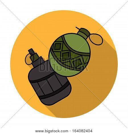 Paintball hand grenade icon in flat design isolated on white background. Paintball symbol stock vector illustration.
