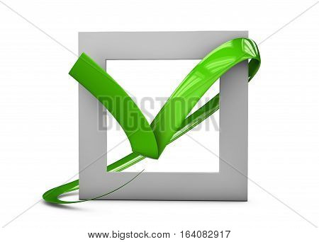 3D Illustratio Of Large Flat Buttons: Green Check Mark Crosses. Square, Hard And Rounded Corners. Is