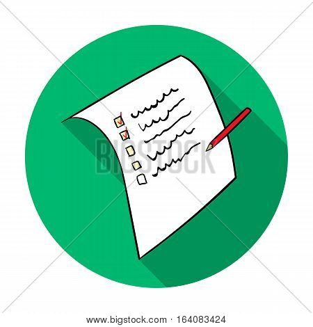 Shopping list icon in flat design isolated on white background. Supermarket symbol stock vector illustration.