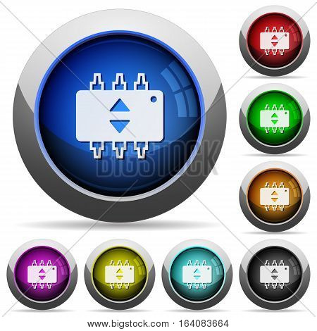 Hardware fine tune icons in round glossy buttons with steel frames
