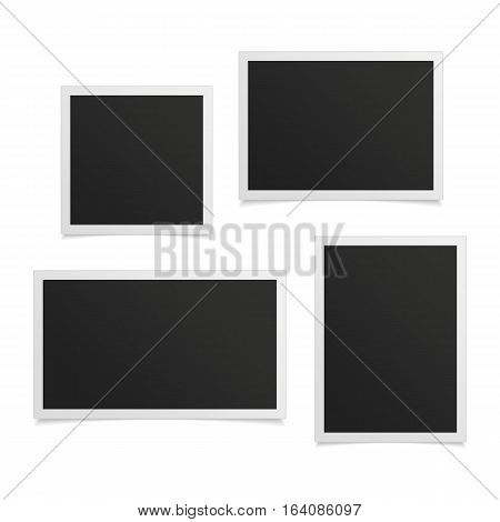 Collection of vector blank photo frames with shadow effects isolated on white background. Set different sizes of photos frame for your picture.