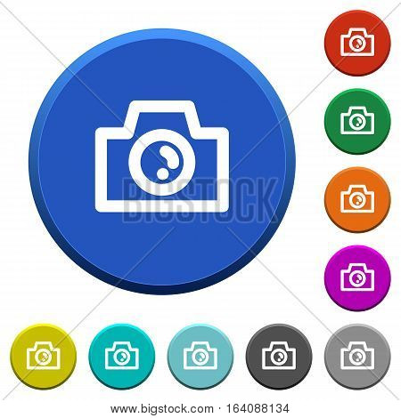 Camera round color beveled buttons with smooth surfaces and flat white icons