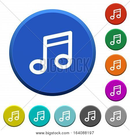 Music note round color beveled buttons with smooth surfaces and flat white icons