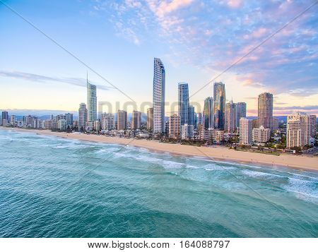 An aerial view of Surfers Paradise on Queensland's Gold Coast, Australia