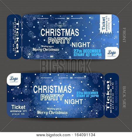 Vector Christmas night party ticket on the dark blue gradient background with snowflakes pattern and snowfall.