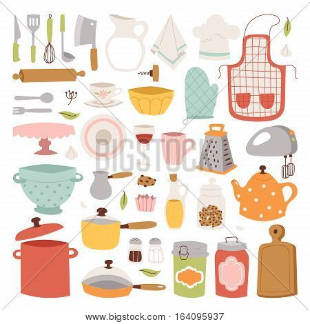 Kitchen and cooking icons set. Kitchenware and utensils food preparation vector illustration for restaurants cafe and culinary blog in flat design.
