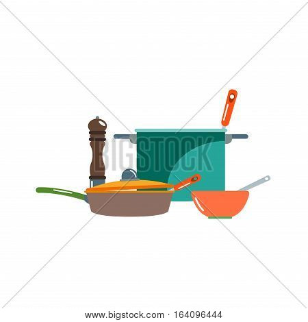 Kitchen pan and cooking icons. Kitchenware and utensils food preparation vector illustration for restaurants cafe and culinary blog in flat design.