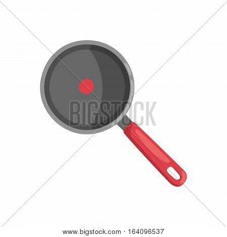 Cartoon pan cooking steel home kitchen equipment vector illustration. Food dinner preparing handle metal kitchenware restaurant fry domestic tool.