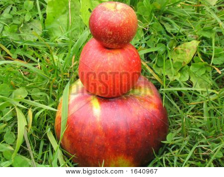 Three Apples Stacked Together