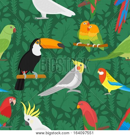 Tropical bird toucan and multicolor parrot on the background exotic flower and palm leaf. Print summer floral plant. Nature animals wallpaper. Seamless vector pattern.