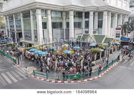 BANGKOKTHAILAND - DEC 31 : scene of Erawan shrine in off traffic at Ratchaprasong Junction while new year festival on december 31 2016 Thailand.