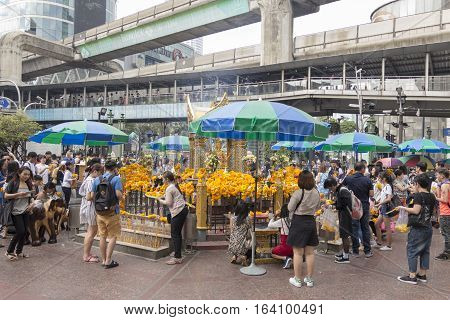 BANGKOK THAILAND - DEC 31 : view of inside Erawan shrine while new year festival on december 31 2016 Thailand. Erawan shrine is famously place in ratchaprasong area