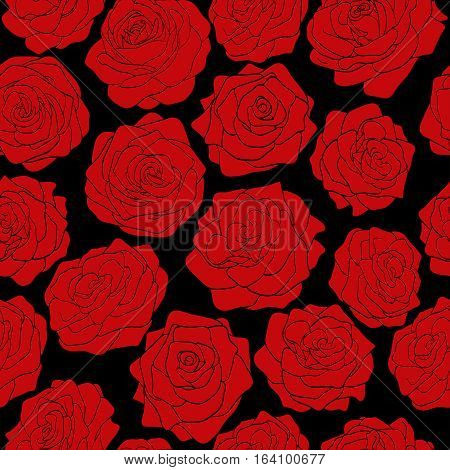 seamless pattern of red roses on a black background