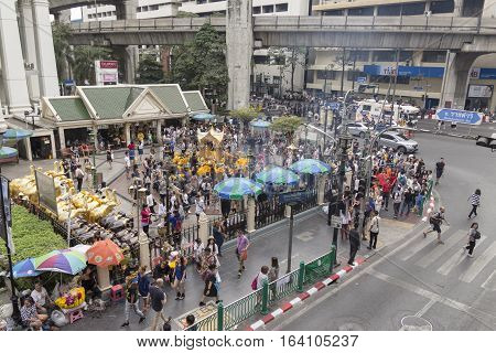 BANGKOKTHAILAND - DEC 31 : off traffic scene at Erawan shrine in Ratchaprasong Junction while new year festival on december 31 2016 Thailand.