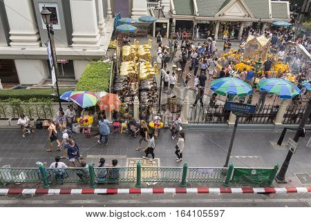 BANGKOKTHAILAND - DEC 31 : view of sidewalk around Erawan shrine in Ratchaprasong Junction while new year festival on december 31 2016 Thailand.