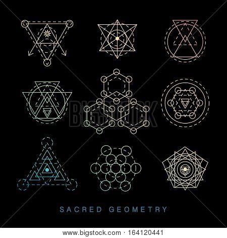 Sacred geometry signs set. Linear Modern Art. Religion philosophy spirituality esoteric symbols