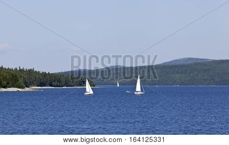 BALTIC SEA, SWEDEN ON JULY 25. View of sailboats and the seaside by the coast on July 25, 2013 at the Baltic Sea, Sweden. Unidentified people. Editorial use.