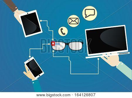 Communication smart glasses. devices communication. communication technology. Vector illustration.