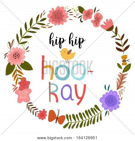 Hip Hip Hooray. Happy Birthday - Hand Drawn Vector Card Decoration.isolated On White Background - St