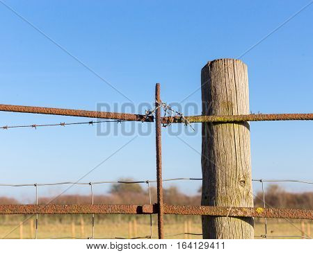Rusty Barbed Wire Old Rough Rusted Metal Posts