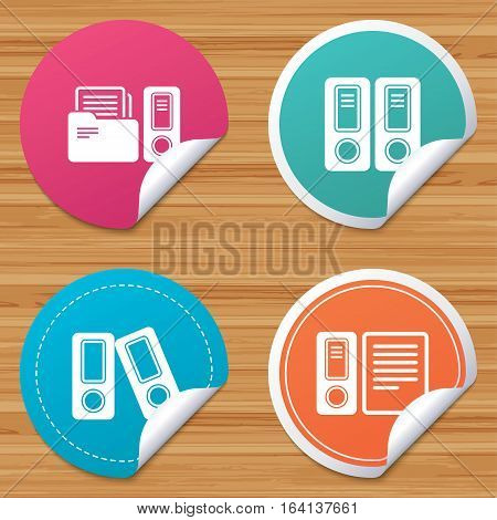 Round stickers or website banners. Accounting icons. Document storage in folders sign symbols. Circle badges with bended corner. Vector