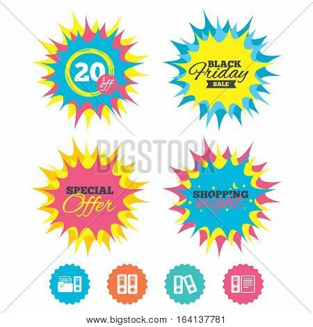 Shopping night, black friday stickers. Accounting icons. Document storage in folders sign symbols. Special offer. Vector