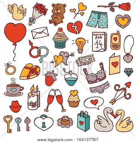 funny love set. vector doodle collection of hand drawn icons for scrapbook