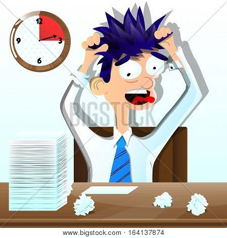 Cartoon young depressed businessman in his office.