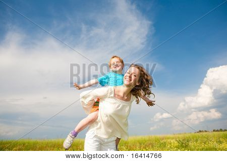 Mother and Son Having Fun