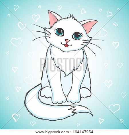 Cute hand drawn cat. Greeting card with kitten. Vector illustration