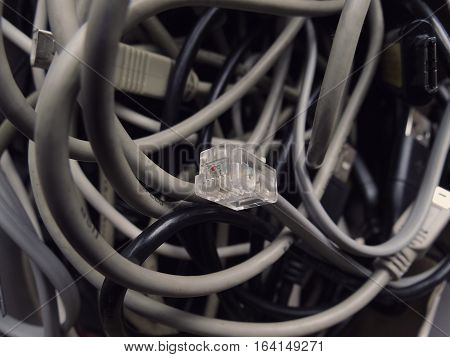 close up of network cables on dark background