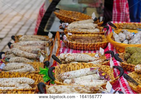 Sausages On Sale In A French Market